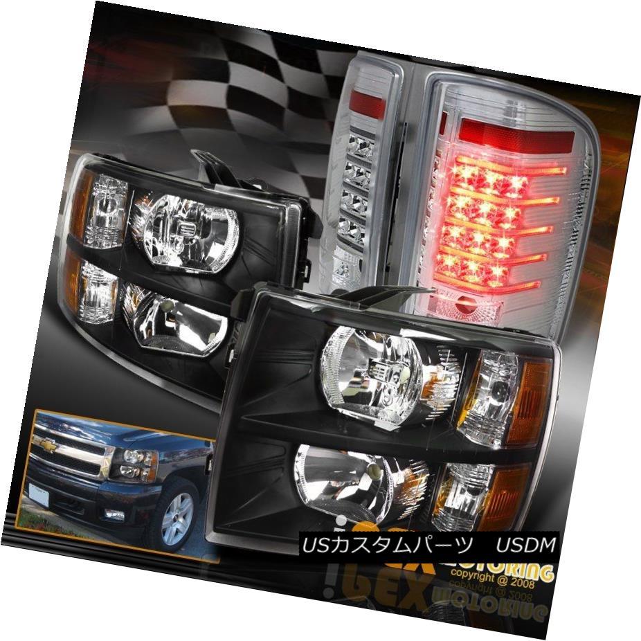 ヘッドライト 07-14 Chevy Silverado 1500/2500HD Black Headlight+ Special LED Tail Light Chrome 07-14 Chevy Silverado 1500 / 2500HDブラックヘッドライト+特殊LEDテールライトクローム