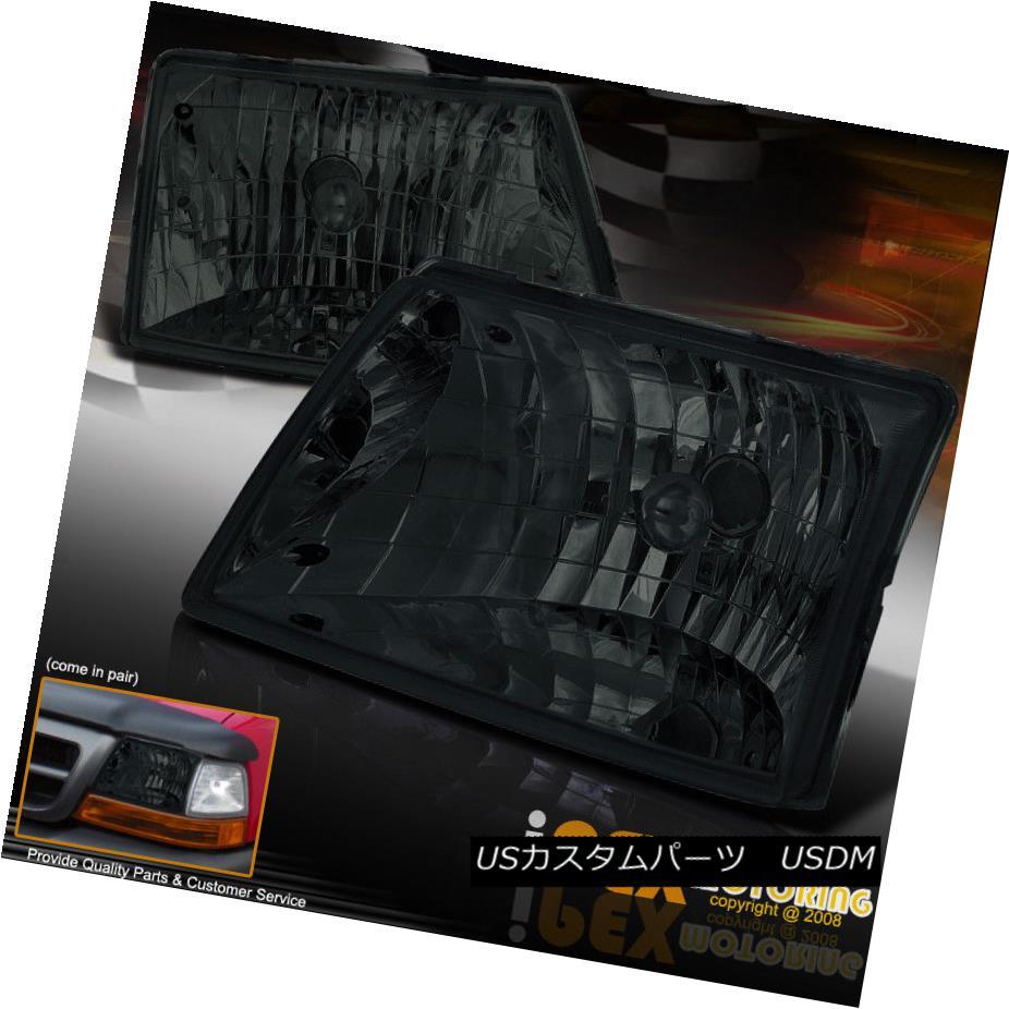 ヘッドライト Pair Of 1998-2000 Ford Ranger Truck Dark Black-Smoke Headlights Lamps 1998年から2000年までのフォードレンジャートラックダークブラックスモークヘッドランプ