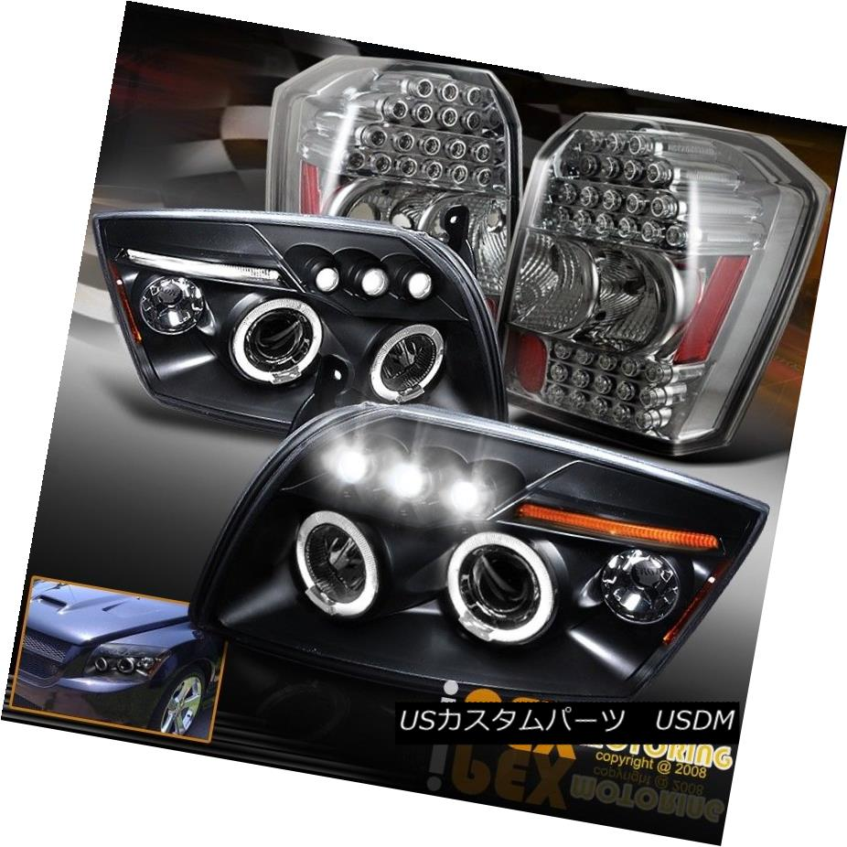 ヘッドライト 2007-2012 Dodge Caliber Halo Projector Black Headlights + LED Smoke Tail Lights 2007-2012ダッジキャリバーハロープロジェクターブラックヘッドライト+ LED煙テールライト