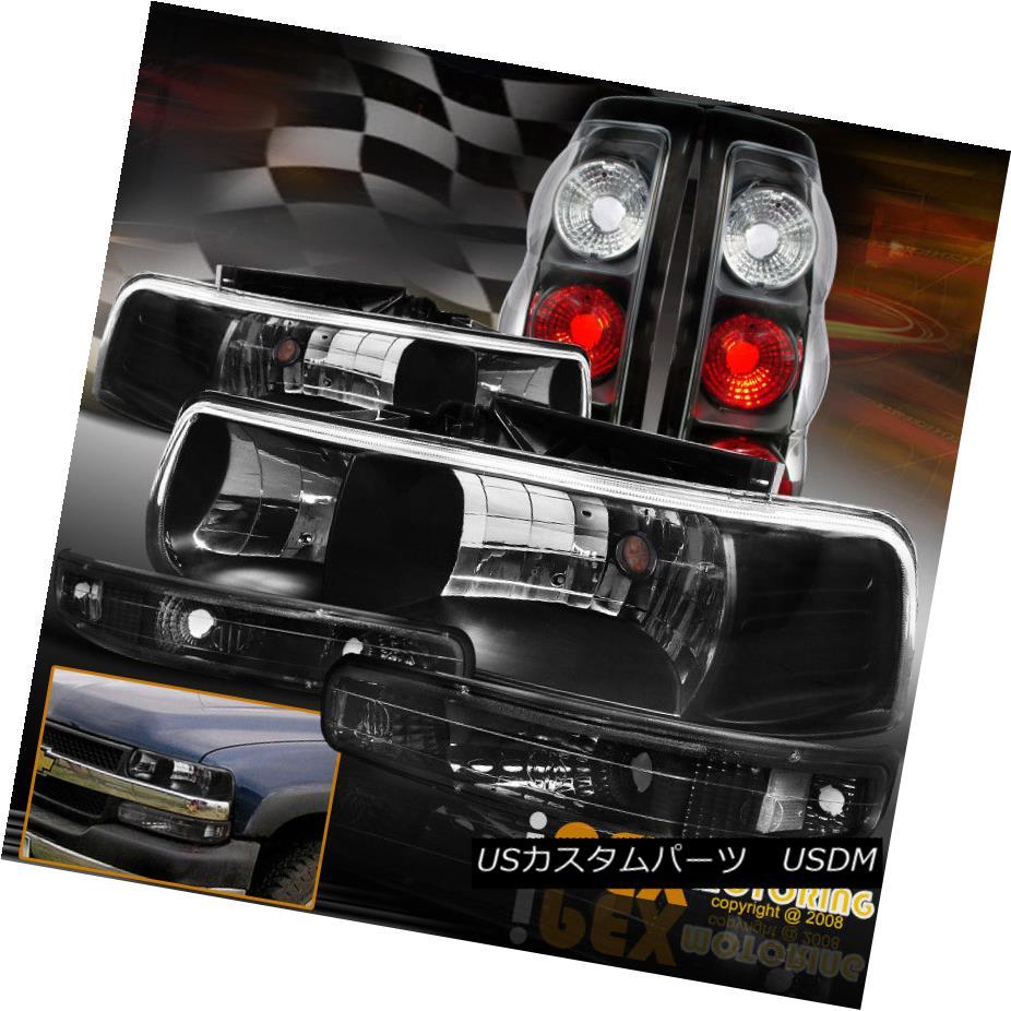 ヘッドライト 1999-2002 Chevy Silverado [COMPLETE 6PC] Black Headlights + Tail Light + Signals 1999-2002 Chevy Silverado [完全6PC]ブラックヘッドライト+テールライト+信号