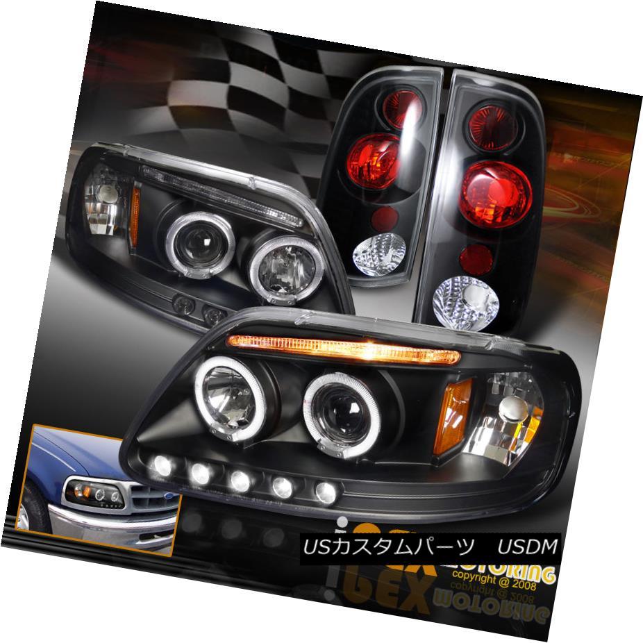 ヘッドライト [ 4PIECE ] New 1997-2003 Ford F150 Halo LED Projector Black Head Light+Tail Lamp [4PIECE] New 1997-2003 Ford F150 Halo LEDプロジェクターブラックヘッドライト+テールランプ