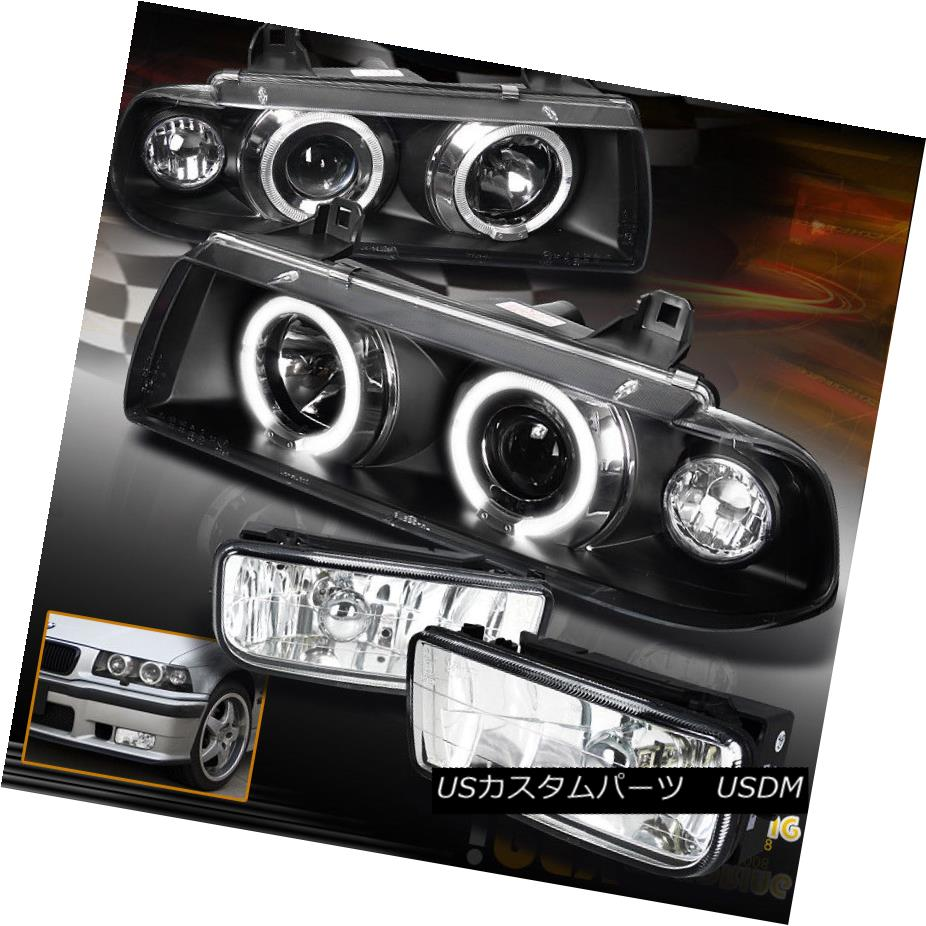 ヘッドライト For (3-Series) 1992-1998 BMW E36 Halo Projector Black Headlights w/ Fog Lights (3シリーズ)1992-1998 BMW E36 Haloプロジェクターブラックヘッドライト(フォグライト付)