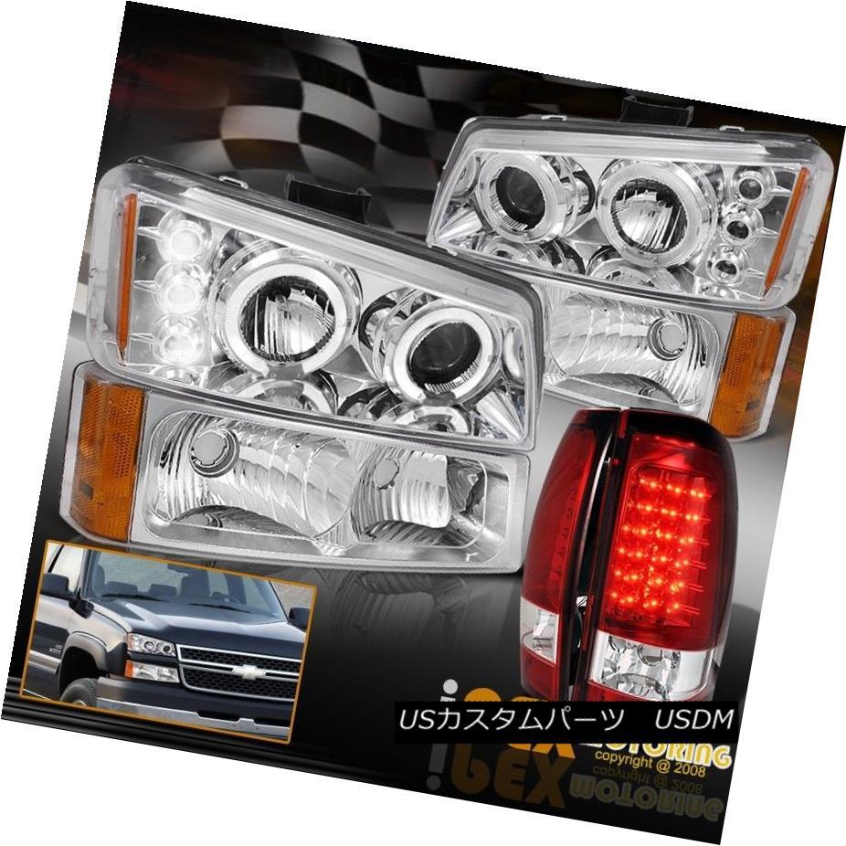ヘッドライト 2003-2006 Chevy Silverado Projector Halo Headlights W/Signals+LED Red Tail Light 2003-2006シボレーシルバラードプロジェクターハローヘッドライト信号/ LEDレッドテールライト