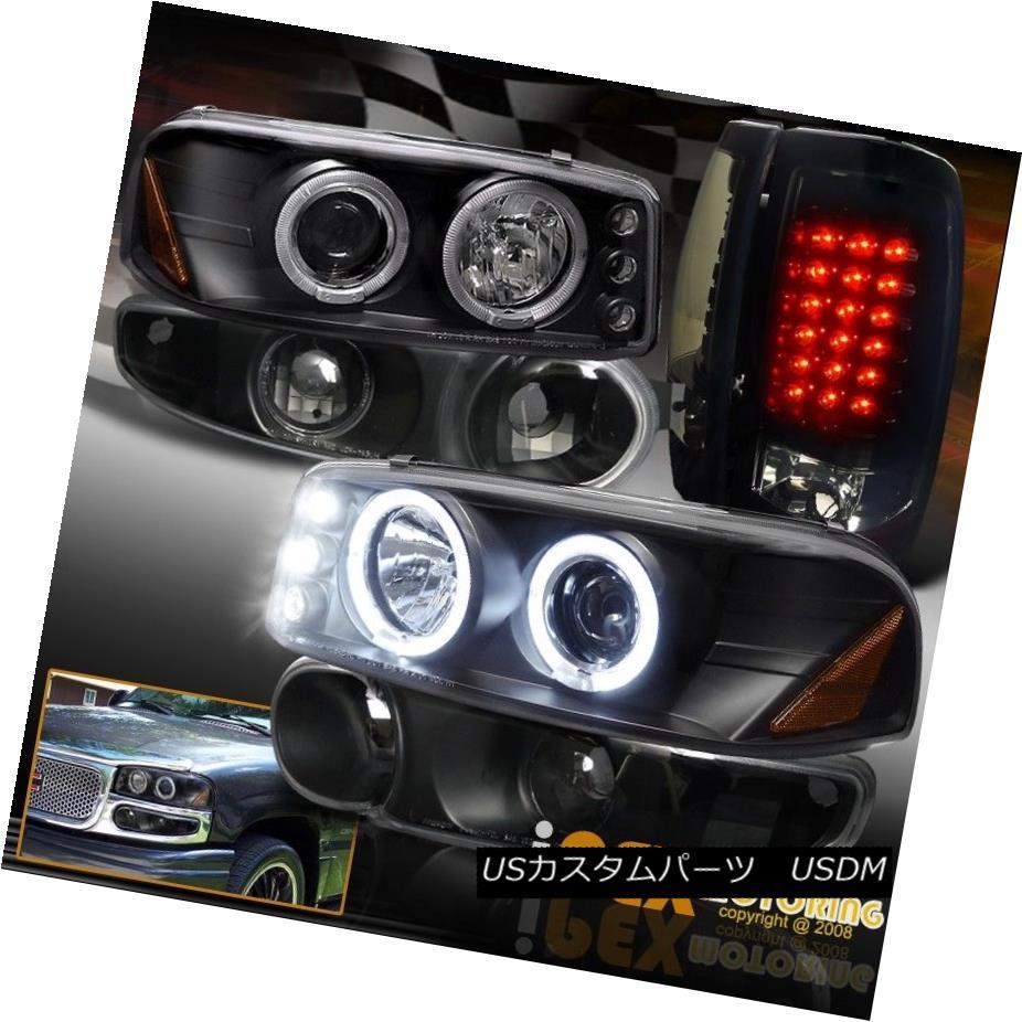 ヘッドライト GMC Sierra Denali Projector Black Headlights W/Signal +Dark Smoke LED Tail Light GMC Sierra DenaliプロジェクターブラックヘッドライトW /信号+ダークスモークLEDテールライト