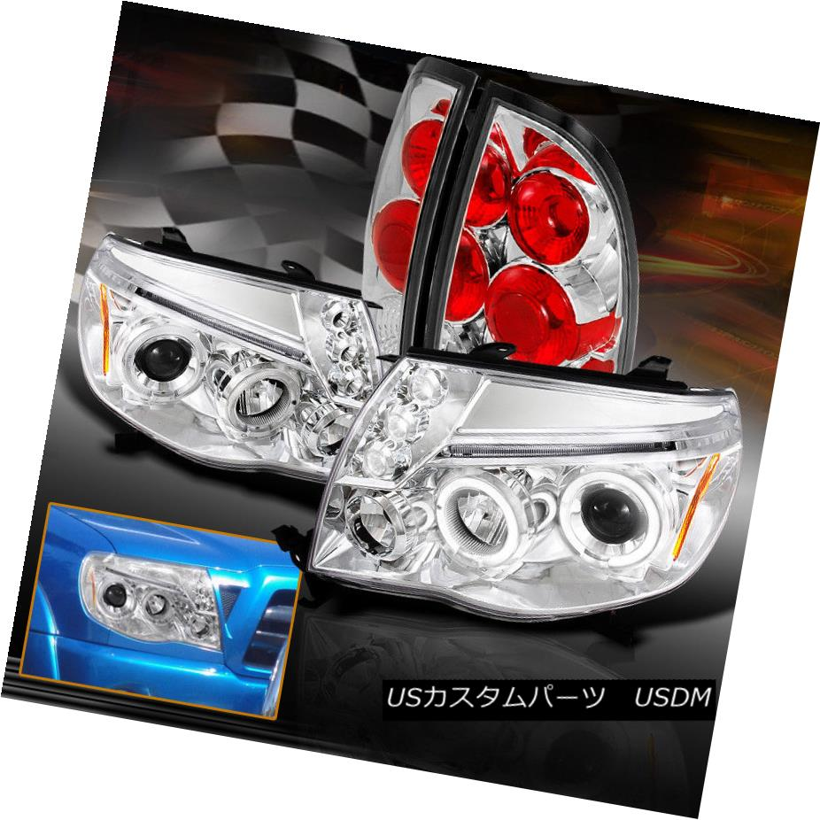 ヘッドライト 2005-2008 Toyota Tacoma Halo Projector LED Headlights W/ Tail Lights Chrome 2005-2008トヨタタコマハロープロジェクターLEDヘッドライトW /テールライトクローム