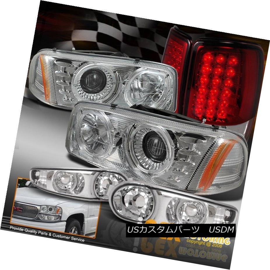 ヘッドライト 00-06 GMC Yukon Denali LED Halo Chrome Projector Headlight W/ Red LED Tail Light 00-06 GMCユーコンデナリLEDハロークロームプロジェクターヘッドライトW /レッドLEDテールライト