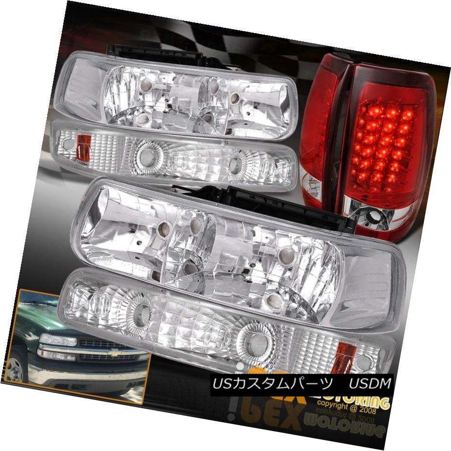 ヘッドライト Chrome 99-02 Chevy Silverado Headlights + Bumper Signal Lights + LED Tail Light Chrome 99-02シボレーシルバラードヘッドライト+バンパーシグナルライト+ LEDテールライト