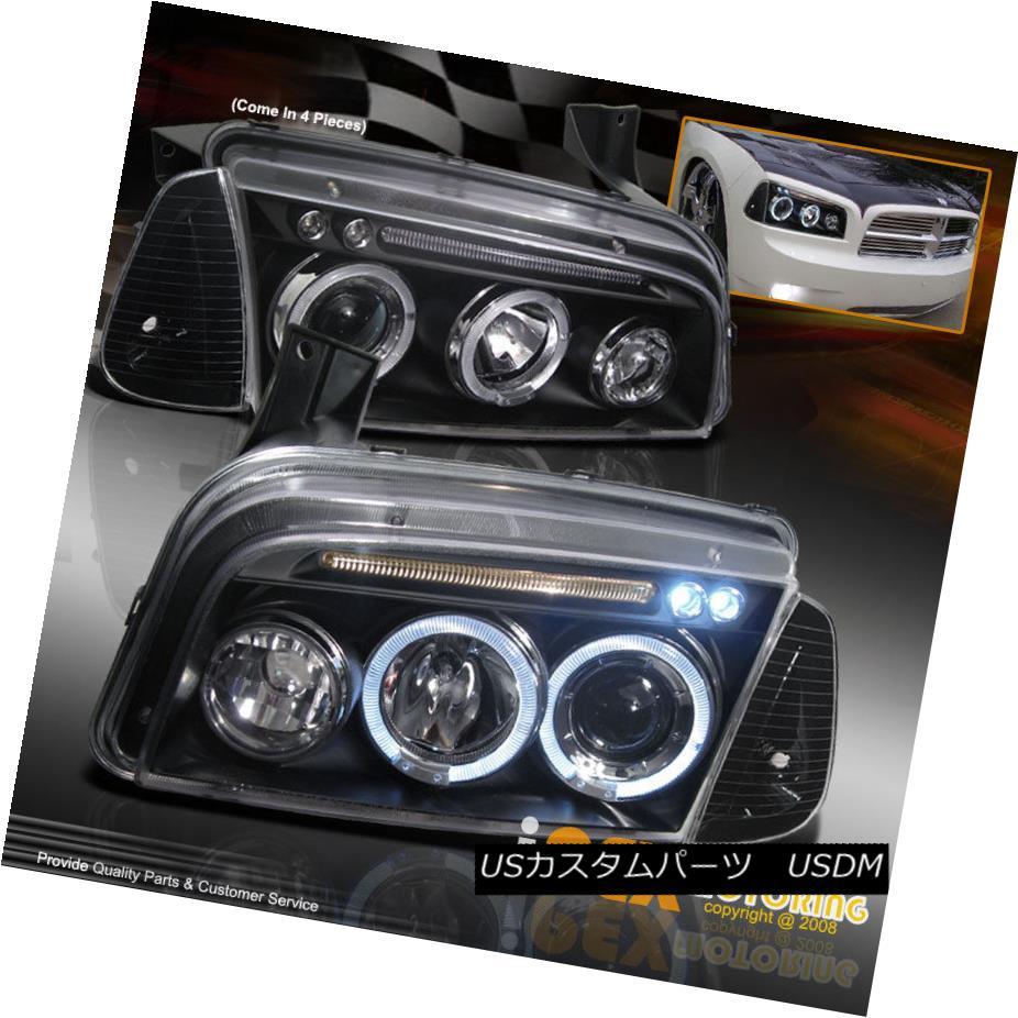ヘッドライト NEW 2005-2010 Dodge Charger Halo Projector LED Headlights + Signal Lights Black NEW 2005-2010 Dodge Charger HaloプロジェクターLEDヘッドライト+シグナルライトブラック