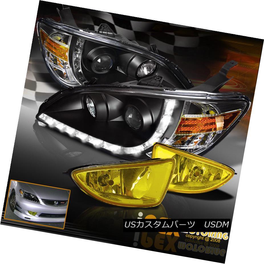 ヘッドライト Brightest LED Bar Projector Black Headlights + Fog Light 2004-2005 Honda Civic 最も明るいLEDバープロジェクターブラックヘッドライト+フォグライト2004-2005 Honda Civic