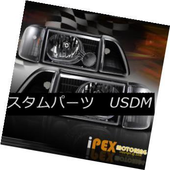 ヘッドライト Cobra Style 1987-1993 Ford Mustang Black Head Light W/Inner Parking +Corner Lamp コブラスタイル1987-1993フォードマスタングブラックヘッドライトW /インナーパーキング+コーナーランプ