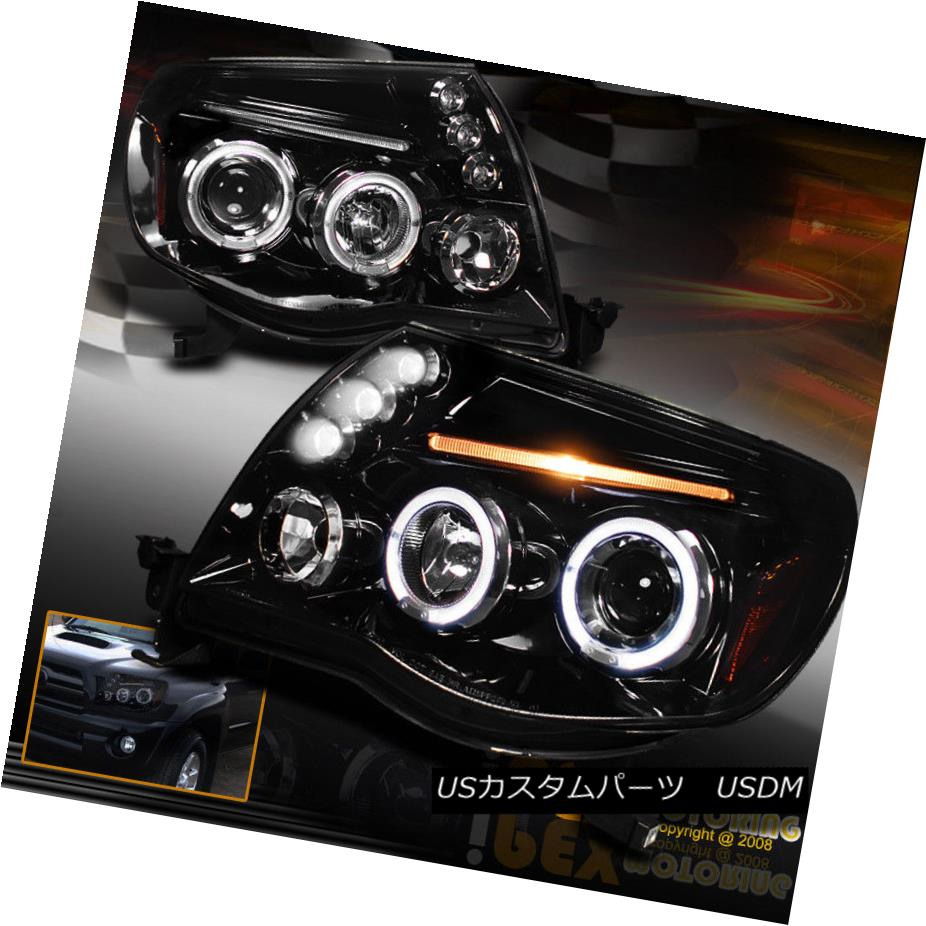 ヘッドライト New 2005-2011 Toyota Tacoma Dual Halo Projector LED Shiny PIANO BLACK Headlights トヨタタコマデュアルヘイロープロジェクターLED新発売2005年?2011年シャイニーピアノブラックヘッドライト