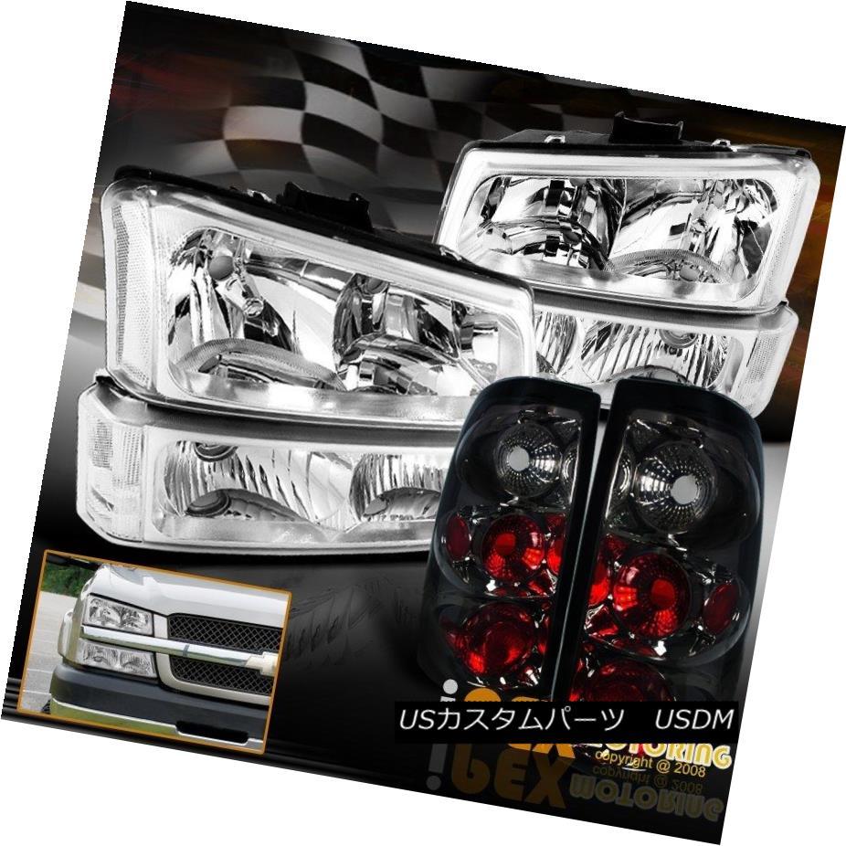 ヘッドライト 2003-2006 Chevy Silverado Chrome Headlights +Bumper Signals + Smoke Tail Lights 2003-2006シボレーシルバラードクロームヘッドライト+バンパーシグナル+煙テールライト