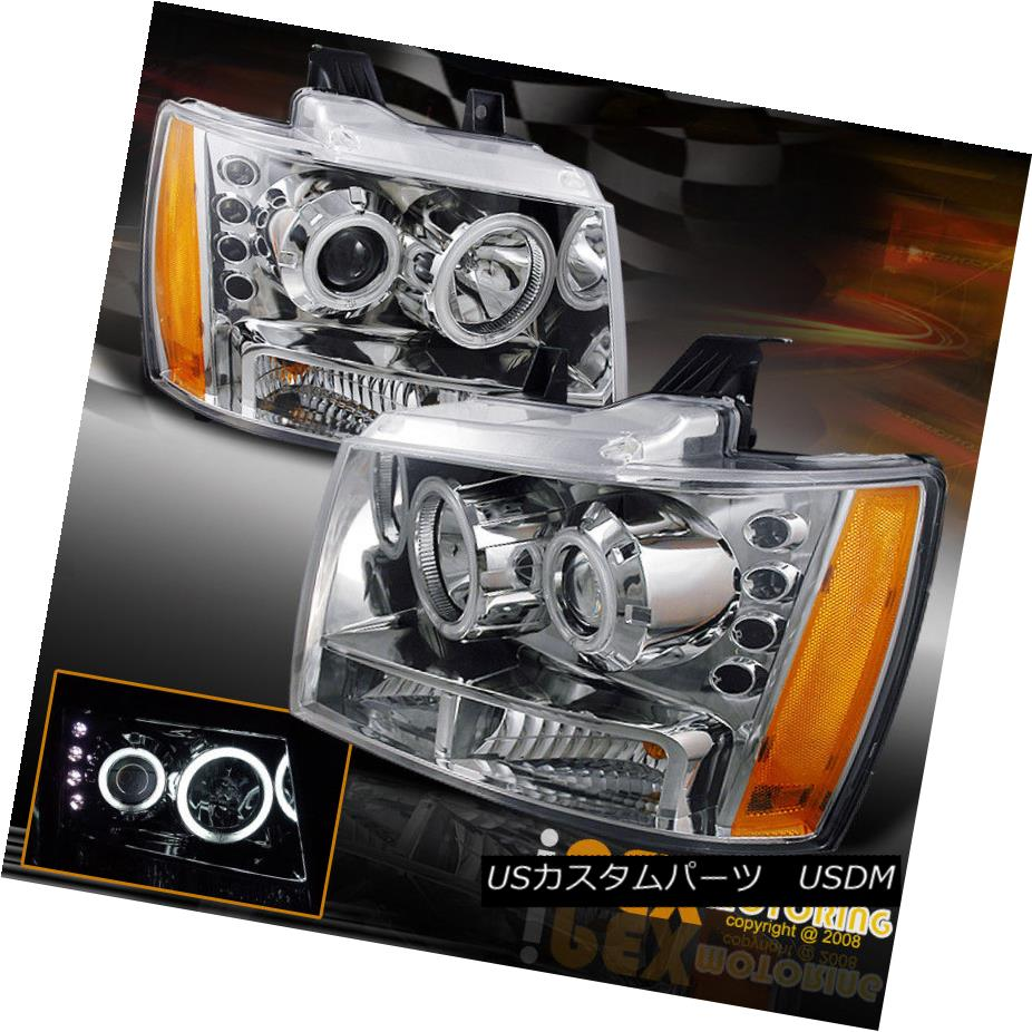 ヘッドライト 2007-2013 Chevy Avalanche Tahoe CCFL Halo Projector LED Headlights Chrome 2007年?2013年シボレーアバランチェタホCCFL HaloプロジェクターLEDヘッドライトクローム