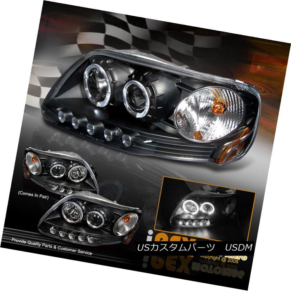 ヘッドライト NEW: 1997-2003 Ford F150 Expedition Halo LED Projector Corner Head Light Black NEW:1997-2003 Ford F150 Expedition Halo LEDプロジェクターコーナーヘッドライトブラック