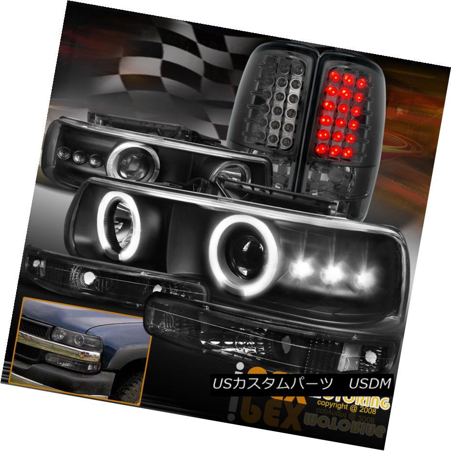 ヘッドライト Chevy Suburban/Tahoe Halo Projector LED Black Headlight+Signals+Smoke Tail Light シボレー郊外/タホハロープロジェクターLEDブラックヘッドライト+サイン als +煙テールライト