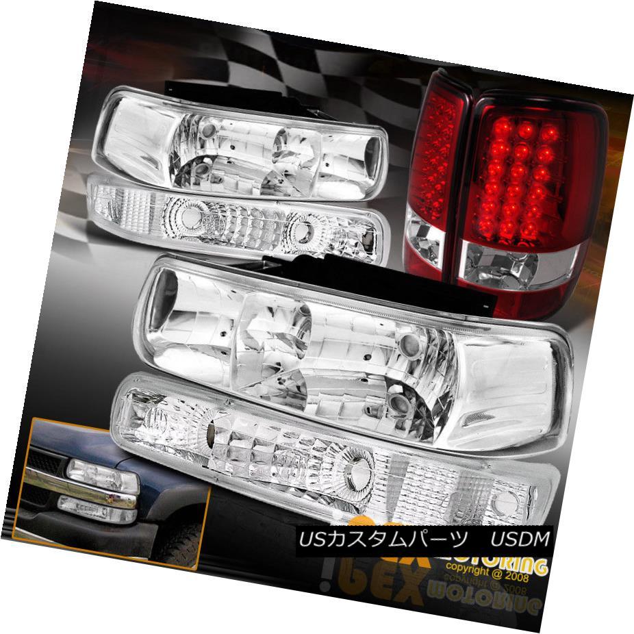 ヘッドライト 2000-2006 Chevy Suburban Tahoe Chrome Headlights+Signal Light+LED Red Tail Light 2000-2006シボレー郊外のタホクロームヘッドライト+シグの ナルライト+ LEDレッドテールライト