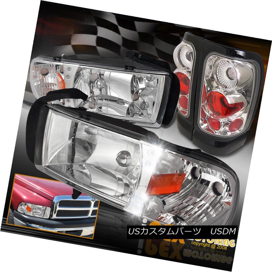 ヘッドライト 1994-2001 Dodge Ram 1500/2500/3500 Chrome LED Headlights + Euro Tail Light 4PC 1994-2001 Dodge Ram 1500/2500/3500クロームLEDヘッドライト+ユーロテールライト4PC