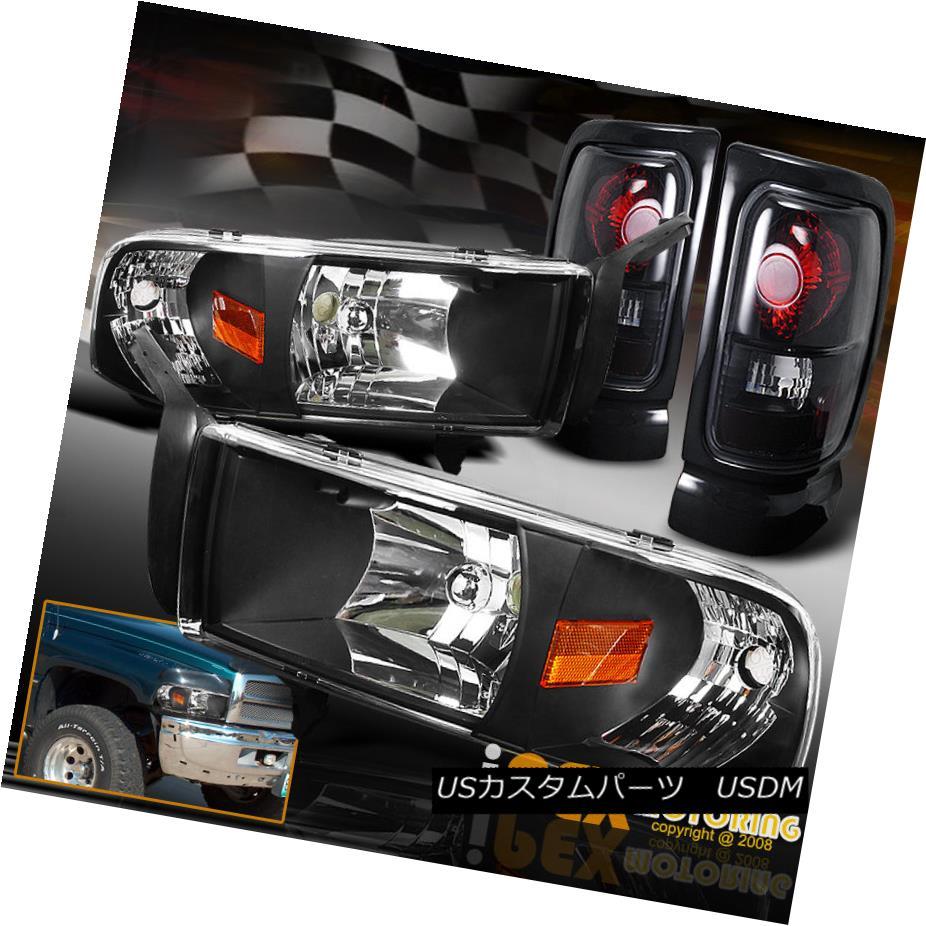 ヘッドライト 94-01 Dodge Ram 1500 2500 3500 Black Headlights W/ Signal+Dark Smoke Tail Lights 94-01 Dodge Ram 1500 2500 3500ブラックヘッドライトW /シグナル+ダークスモークテールライト