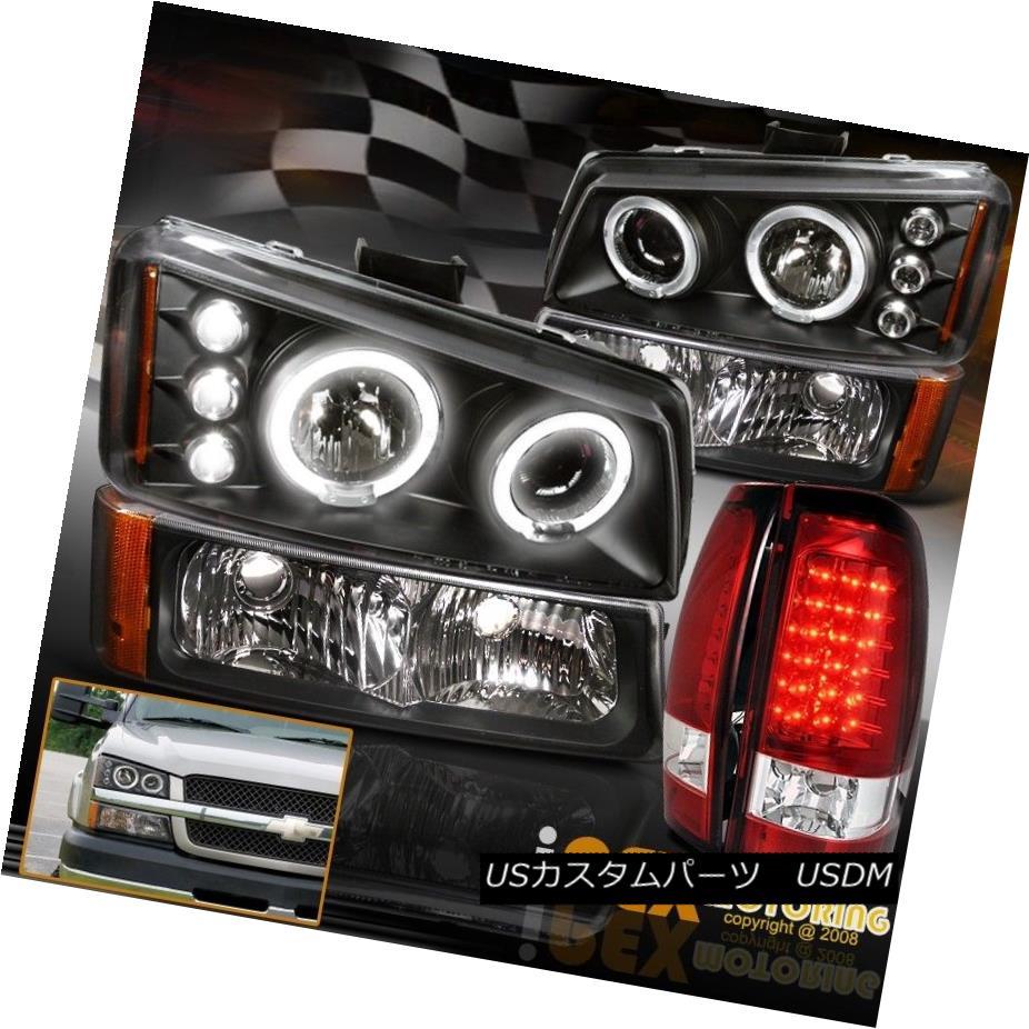 ヘッドライト 2003-2006 Chevy Silverado Projector Halo Black Headlight+Signals+LED Tail Light 2003-2006シボレーシルバラードプロジェクターハローブラックヘッドライト+サイン als + LEDテールライト