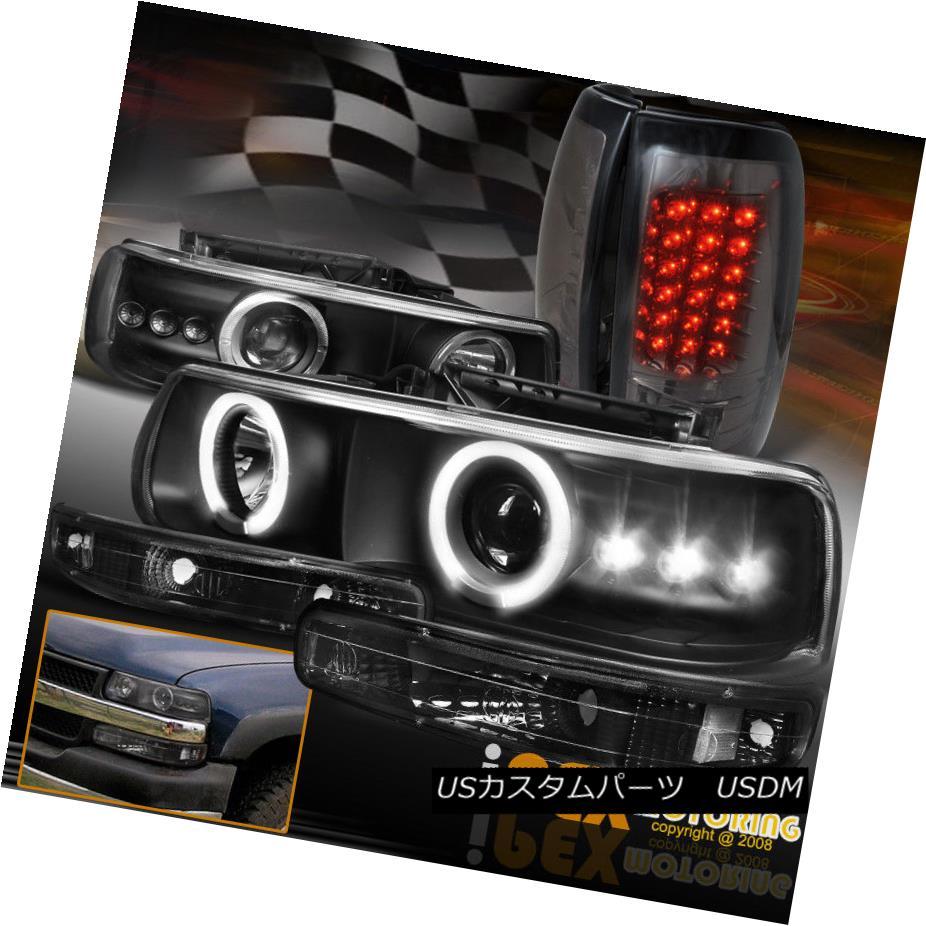 1999-2002 Chevy Silverado 1500 Black Headlights Bumper Lamp Smoke Red Tail Light