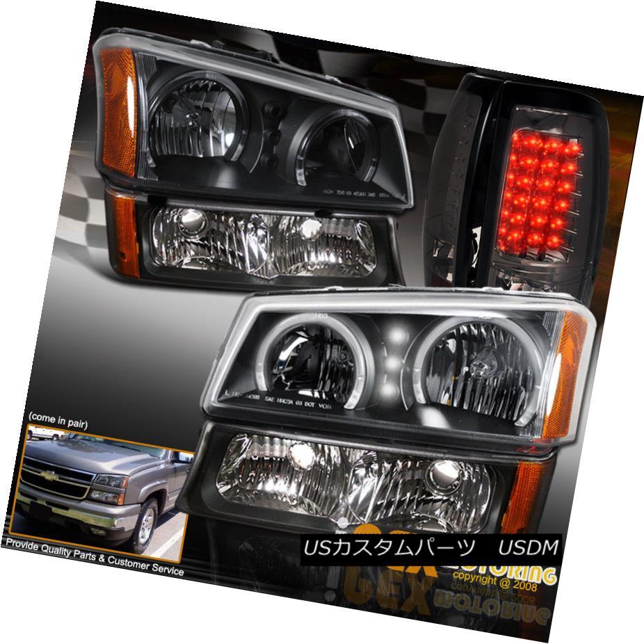 ヘッドライト 2003-2006 Silverado 1500 2500HD Halo Rims Black Headlight + Smoke LED Tail Light 2003-2006シルバラード1500 2500HDハローリムズブラックヘッドライト+スモークLEDテールライト