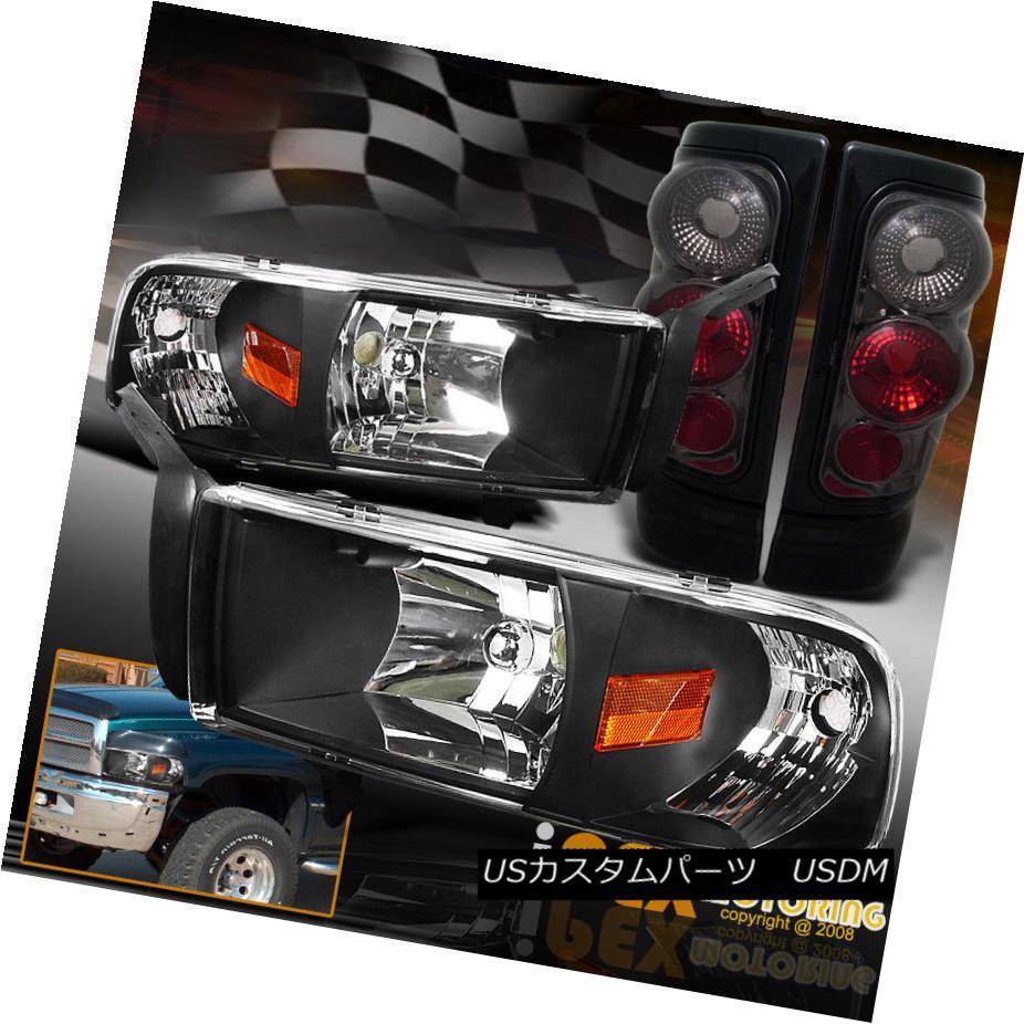ヘッドライト 1994-2001 Dodge Ram 1500 2500 3500 Black Headlight W/ Signals + Smoke Tail Light 1994-2001 Dodge Ram 1500 2500 3500ブラックヘッドライト信号/煙テールライト