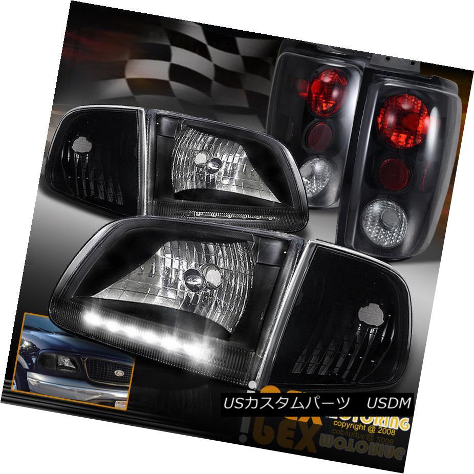 ヘッドライト 1997-2002 Expedition LED Black Headlights + Corner Light + Dark Smoke Tail Light 1997-2002遠征LEDブラックヘッドライト+コーナーライト+ダークスモークテールライト
