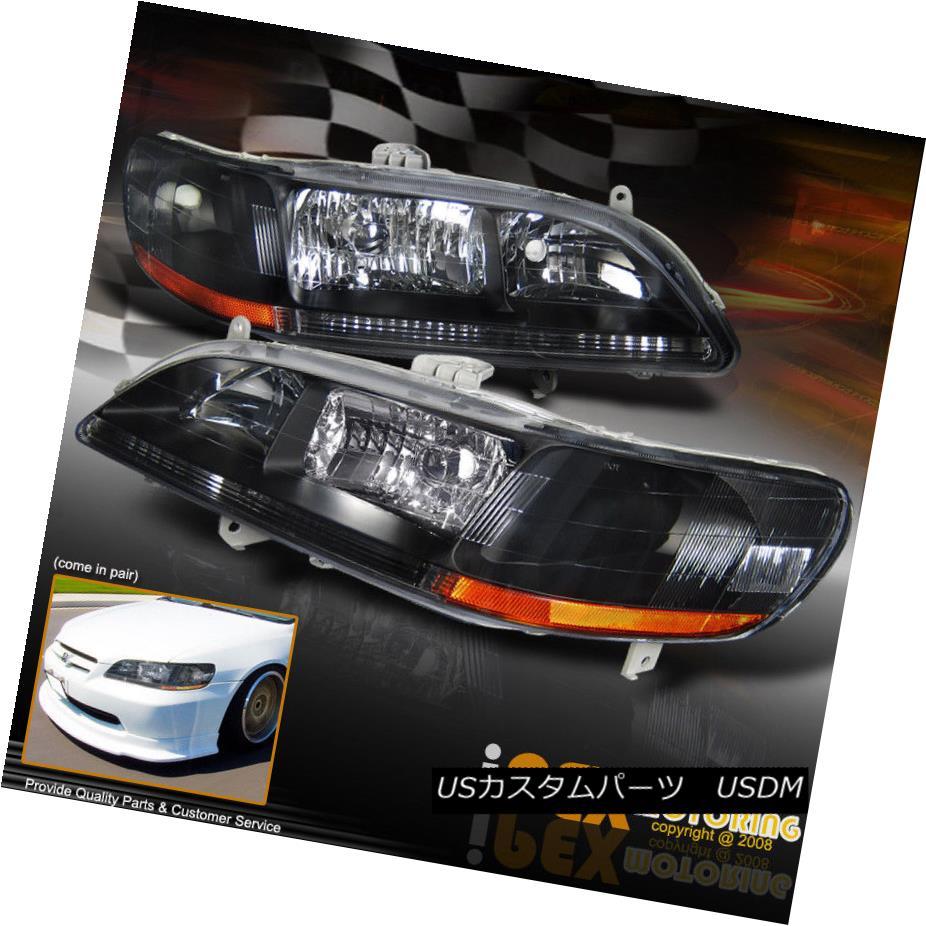 ヘッドライト 1998-2002 Honda Accord 2/4Dr JDM Black Headlights Replacement Headlamps 1998-2002ホンダアコード2 / 4Dr JDMブラックヘッドライト交換ヘッドランプ