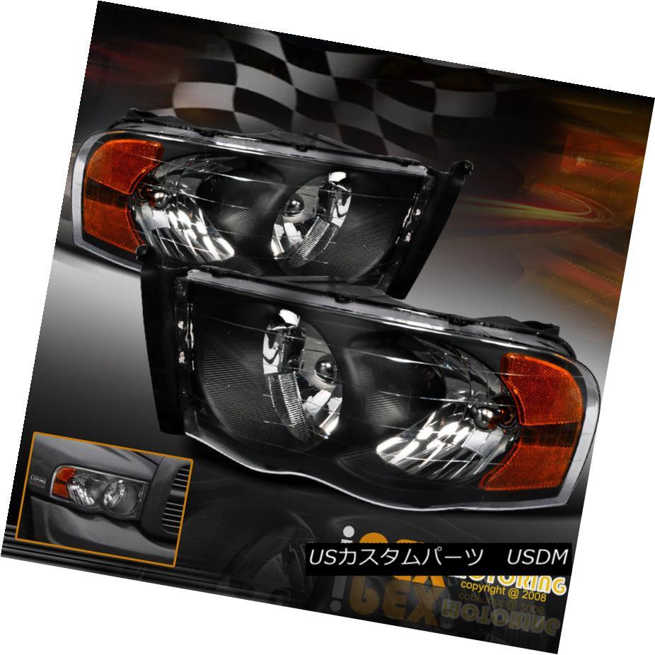 ヘッドライト HOT Deal New Pair 2002-2005 Dodge RAM 1500/2500/3500 Black Headlights w/ Bulbs HOT Deal New Pair 2002-2005 Dodge RAM 1500/2500/3500ブラックヘッドライト(電球付き)