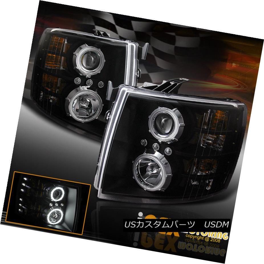 ヘッドライト 2007-2014 Chevy Silverado Twin CCFL Halo Rim Projector LED Headlights Black 2007年?2014年シボレーシルバラードツインCCFLハローリムプロジェクターLEDヘッドライトブラック