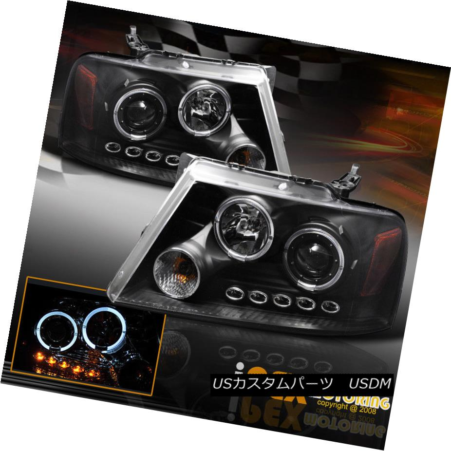ヘッドライト 2004-2008 Ford F150 F-150 Halo Rims Projector LED Headlights Black 2004-2008 Ford F150 F-150 Halo RimsプロジェクターLEDヘッドライトブラック