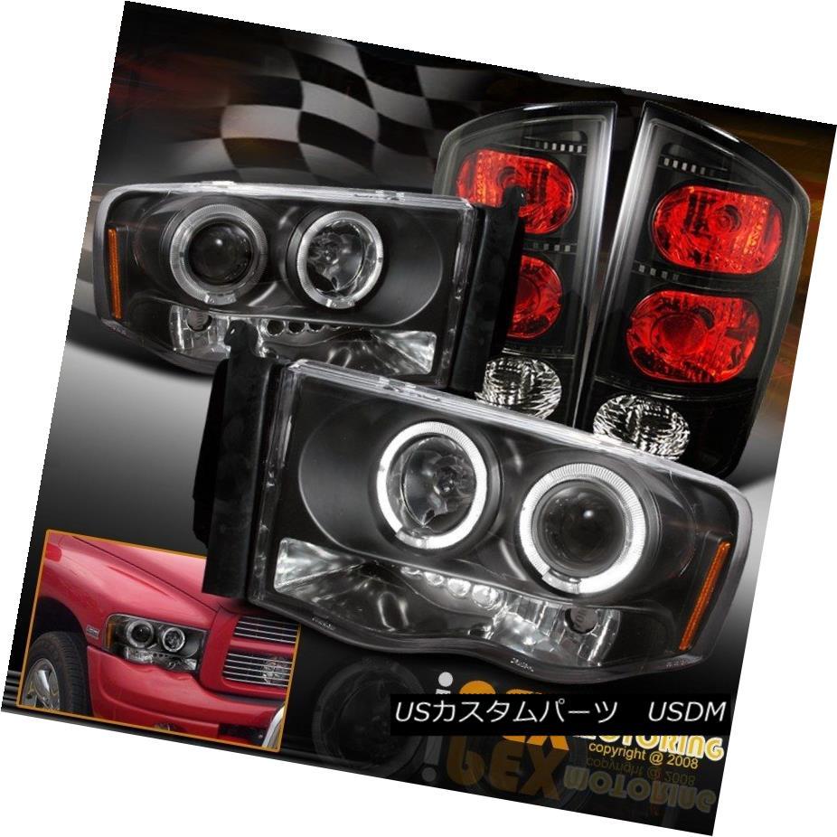 ヘッドライト Black 2002-2005 Dodge Ram 1500 2500 3500 Halo Projector LED Headlight+Tail Light 黒2002-2005 Dodge Ram 1500 2500 3500 HaloプロジェクターLEDヘッドライト+テールライト