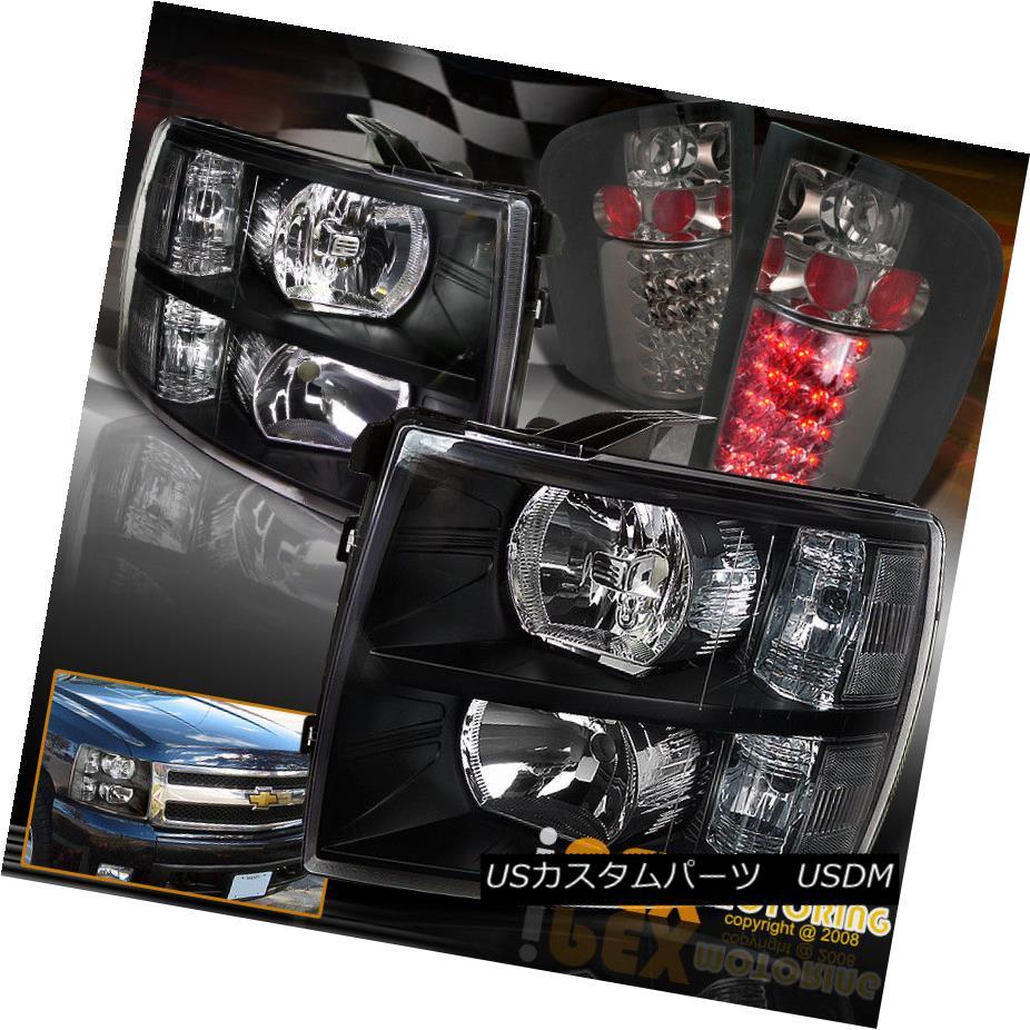 ヘッドライト 2007-2014 Chevy Silverado 1500 2500 Black Headlights+Bright LED Smoke Tail Light 2007-2014シボレーシルバラード1500 2500ブラックヘッドライト+ブリ ght LEDスモークテールライト