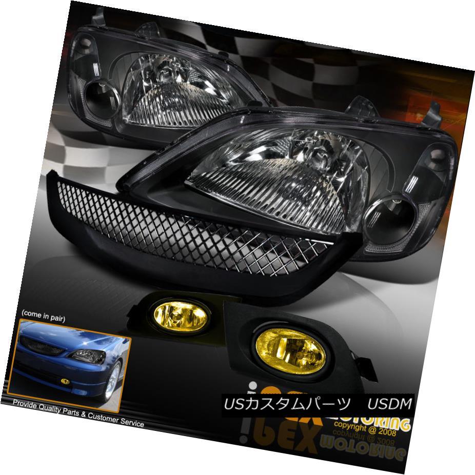 ヘッドライト 2001-2003 Honda Civic JDM Black Headlights W/ Yellow Fog Light + Type-R Grill 2001-2003ホンダシビックJDMブラックヘッドライトW /イエローフォグライト+タイプ-Rグリル