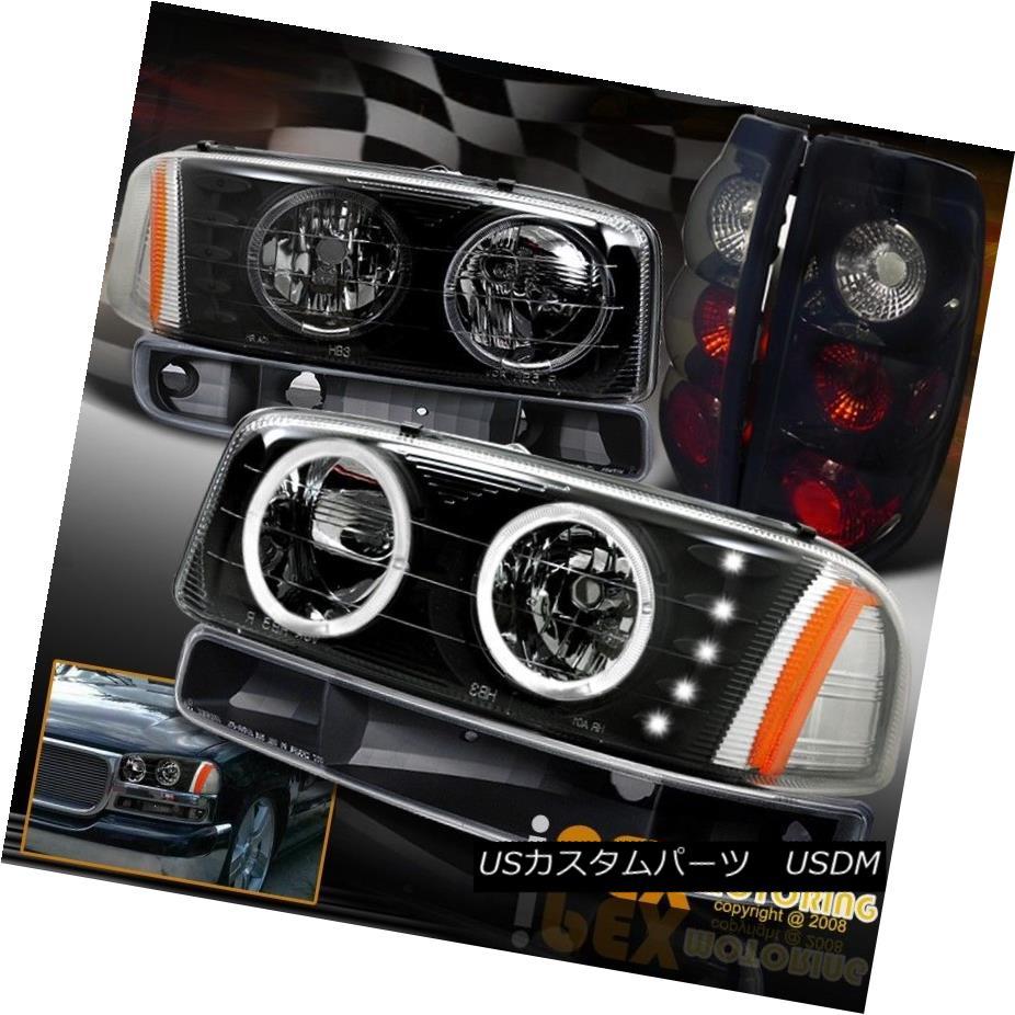 ヘッドライト 99-03 GMC Sierra Halo LED Black Headlight W/ Signals + Special Smoke Tail Light 99-03 GMC Sierra Halo LEDブラックヘッドライト信号/特別な煙テールライト