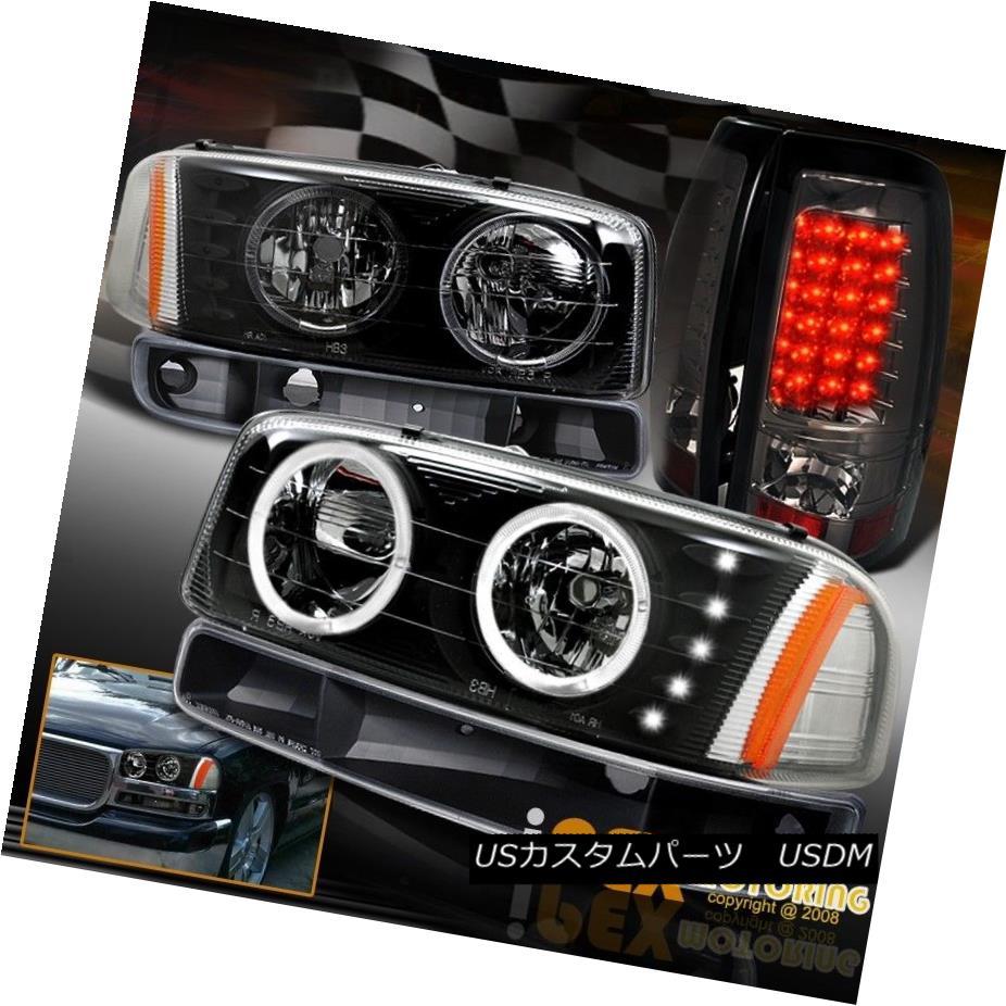 ヘッドライト 2004-06 Sierra 1500 2500 Halo Black Headlights W/ Signals + LED Tail Light Smoke 2004-06 Sierra 1500 2500ハローブラックヘッドライト信号/ LEDテールライトスモーク