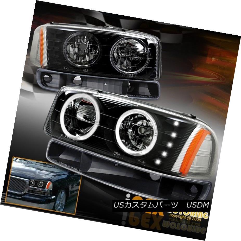 ヘッドライト 1999-2006 GMC Sierra / 00-06 Yukon Halo LED Black Headlights W/ Signal Lights 1999-2006 GMC Sierra / 00-06 Yukon Halo LEDブラックヘッドライトシグナルライト