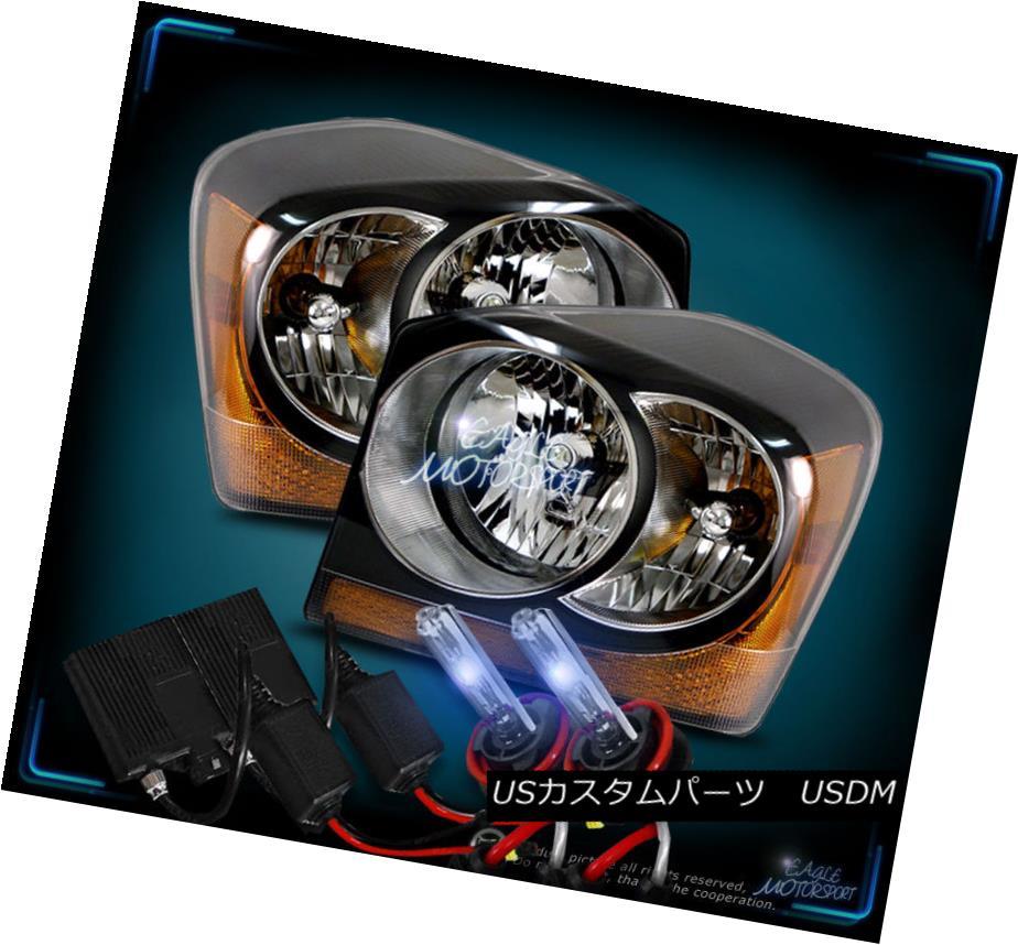 ヘッドライト 2004 2005 2006 Dodge Durango Black Factory Style Headlights +10000K Slim HID Set 2004 2005 2006 Dodge Durangoブラックファクトリースタイルヘッドライト+ 10000KスリムHIDセット
