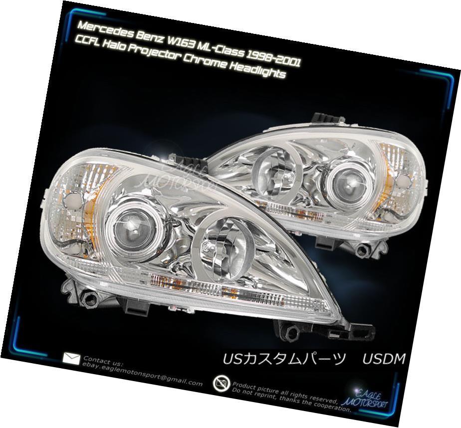 ヘッドライト Mercedes W163 CCFL Angel Eye Halo Projector Headlights +2x 50cm 30-SMD LED Strip Mercedes W163 CCFLエンジェルアイハロープロジェクターヘッドライト+ 2x 50cm 30-SMD LEDストリップ