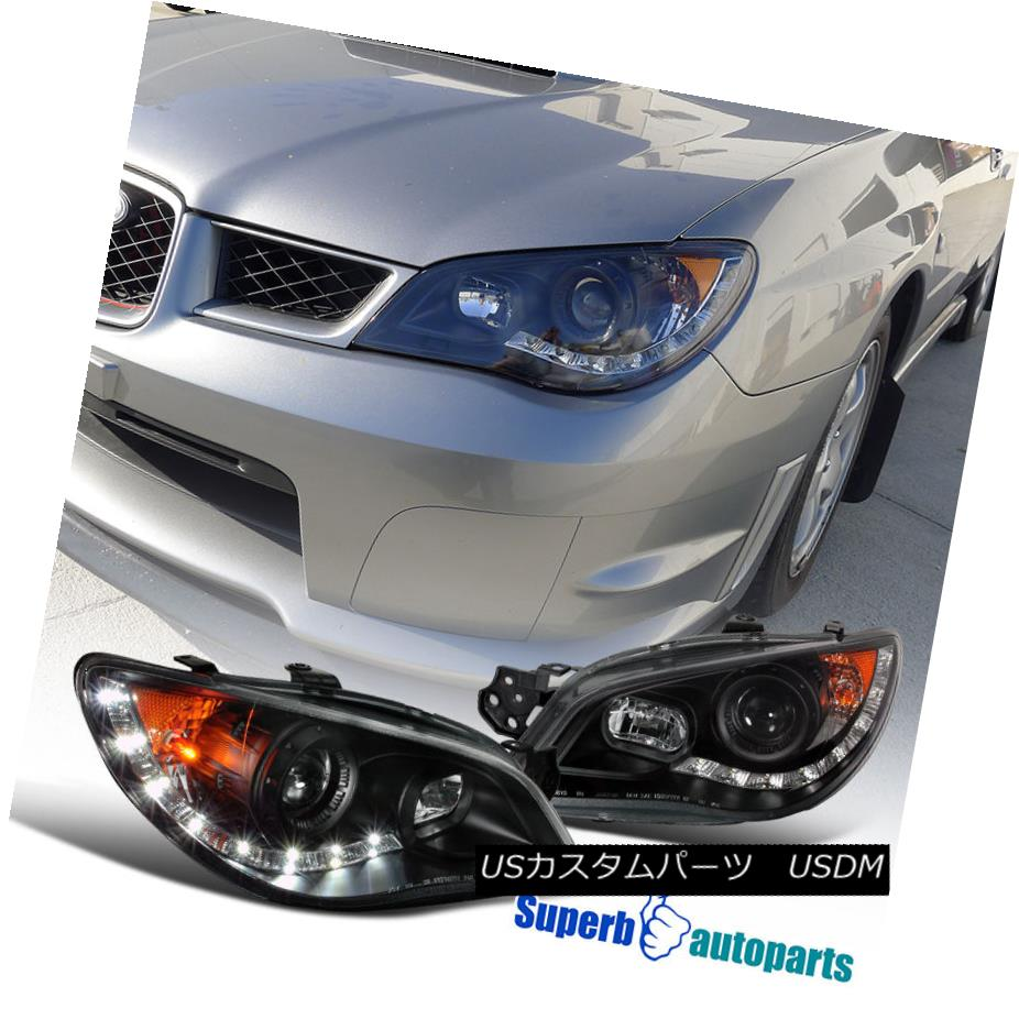 ヘッドライト For 2006-2007 Subaru Impreza R8 Led DRL Headlights Head Lamps Black SpecD Tuning 2006-2007年スバルインプレッサR8 Led DRLヘッドライトヘッドランプブラックスペックチューニング