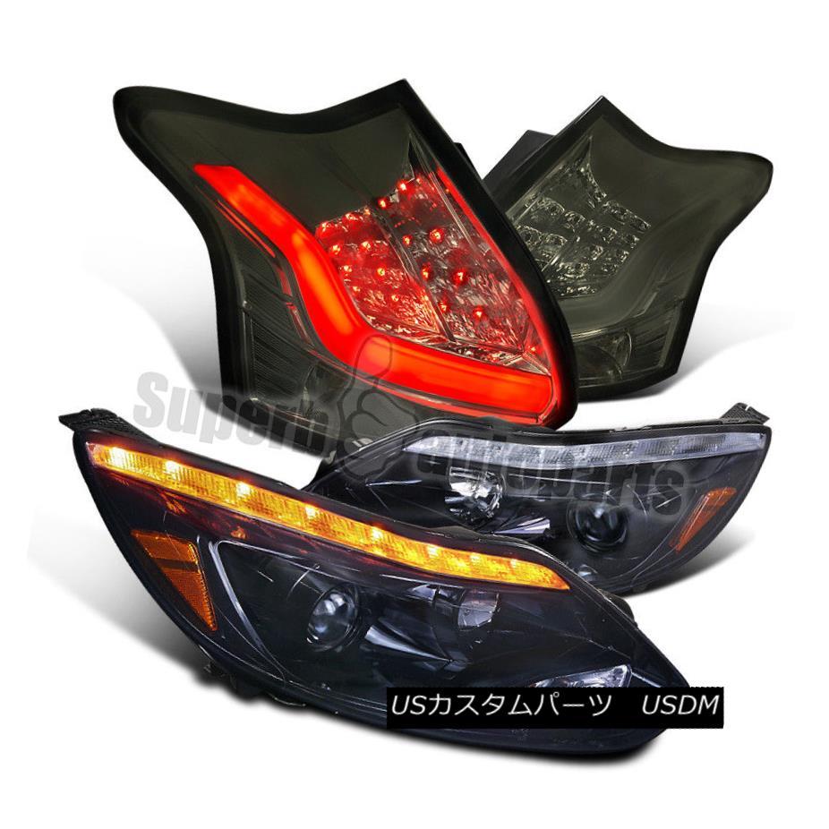ヘッドライト 2012-2014 Focus HB Glossy Black LED DRL Projector Headlights+Smoke LED Tail Lamp 2012年?2014年Focus HB光沢ブラックLED DRLプロジェクターヘッドライト+ Smo  ke LEDテールランプ