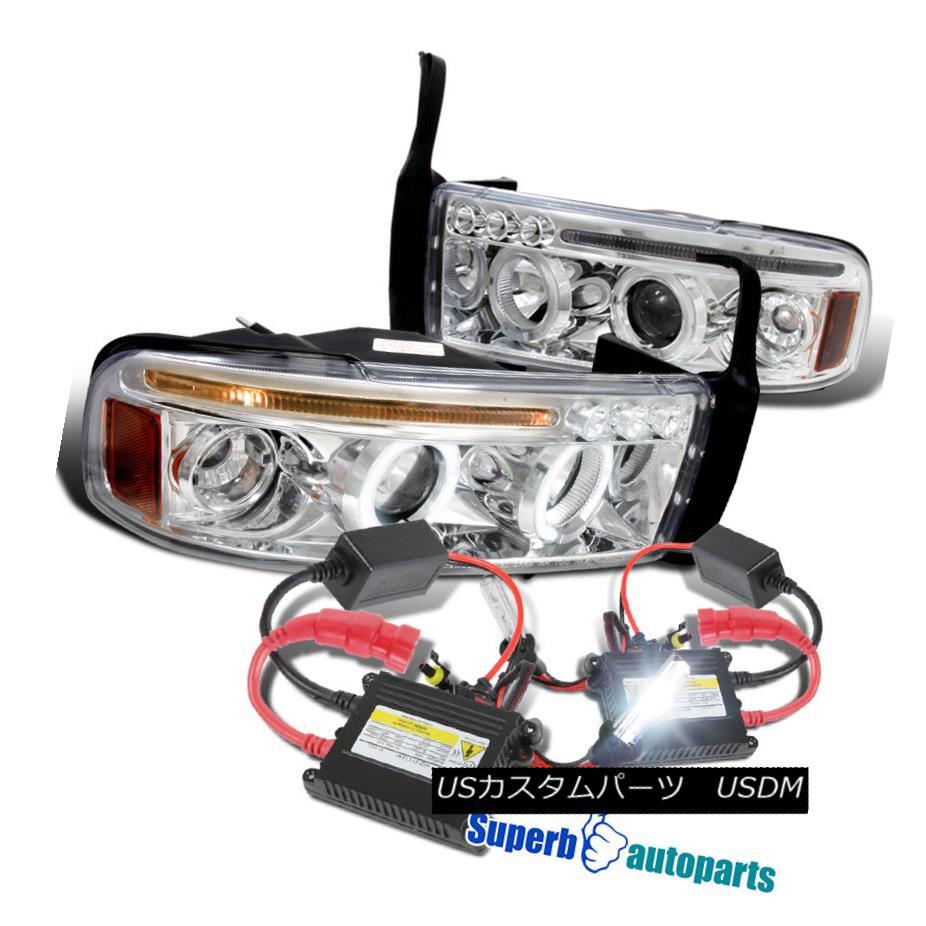 ヘッドライト 1994-2001 Dodge Ram Halo LED Projector Headlights Chrome+H1 Slim HID Kit 1994-2001 Dodge Ram Halo LEDプロジェクターヘッドライトChrome + H1スリムHIDキット