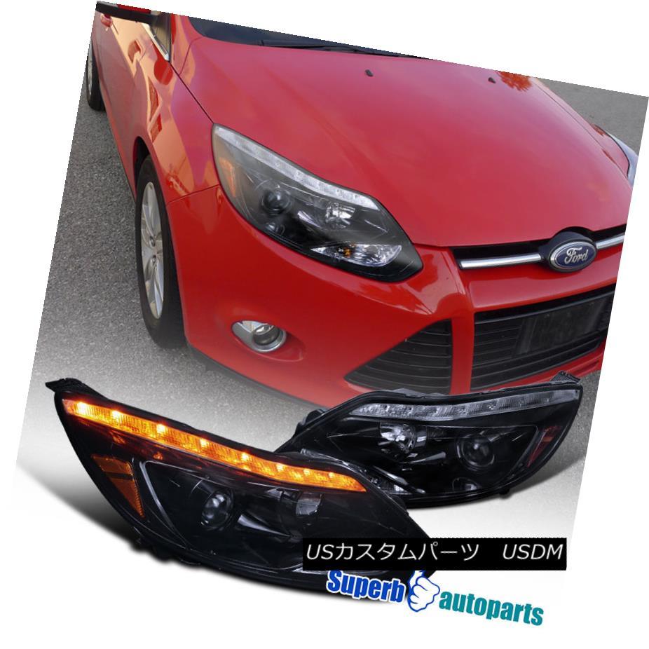 ヘッドライト 2012-2014 Ford Focus LED DRL Signal Smoked Projector Headlights Glossy Black 2012年?2014年フォードフォーカスLED DRL信号スモークプロジェクターヘッドライト光沢ブラック