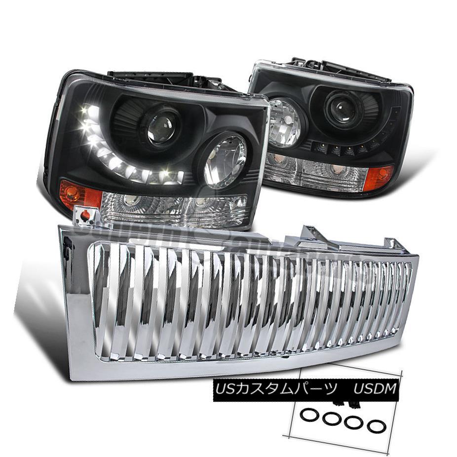 ヘッドライト 99-02 Silverado Tahoe Suburban Black SMD LED Projector Headlights+Chrome Grille 99-02 Silverado Tahoe郊外型ブラックSMD LEDプロジェクターヘッドライト+ Chr  oem Grille