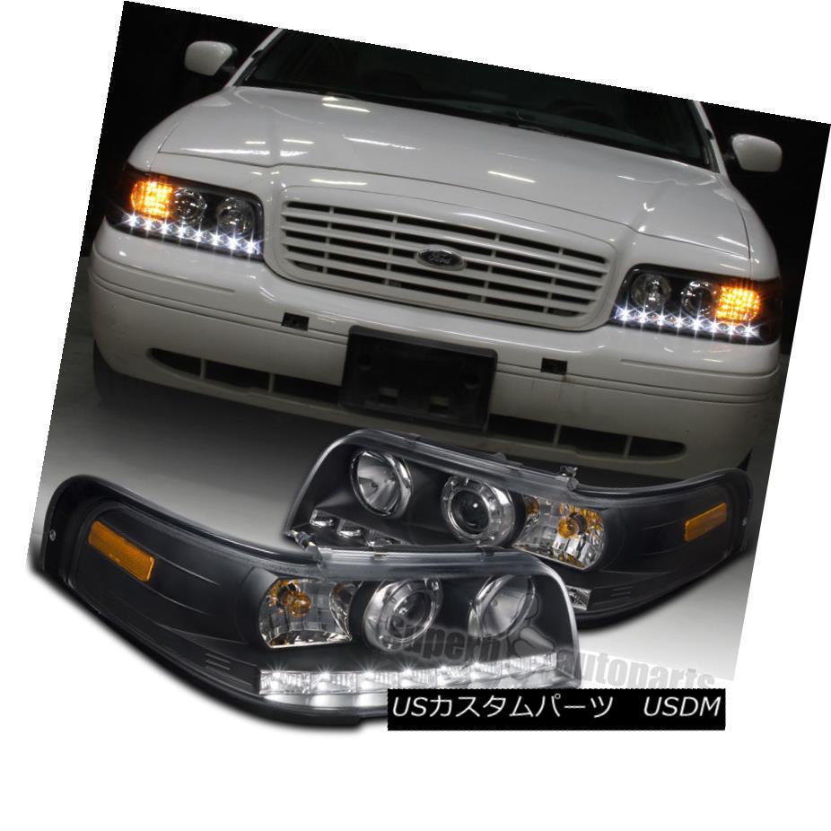 ヘッドライト 1998-2011 Ford Crown Victoria SMD LED DRL Projector Headlights Black Head Lamps 1998?2011年フォードクラウンビクトリアSMD LED DRLプロジェクターヘッドライトブラックヘッドランプ