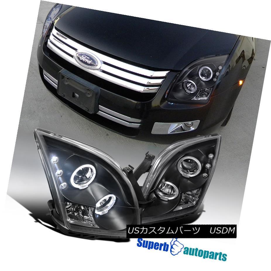 ヘッドライト 2006-2009 Ford Fusion Led Halo Rim Projector Headlights Black SpecD Tuning 2006 - 2009年フォードフュージョンLed Halo Rimプロジェクターヘッドライトブラックスペックチューニング