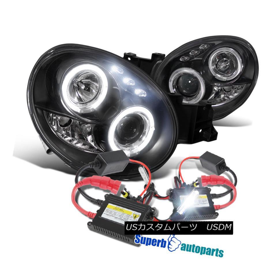 ヘッドライト For 02-03 Subaru Impreza WRX RS LED Halo Projector Headlights Black+H1 Slim HID 02-03スバルインプレッサWRX RS LEDハロープロジェクターヘッドライトブラック+ H1スリムHID用