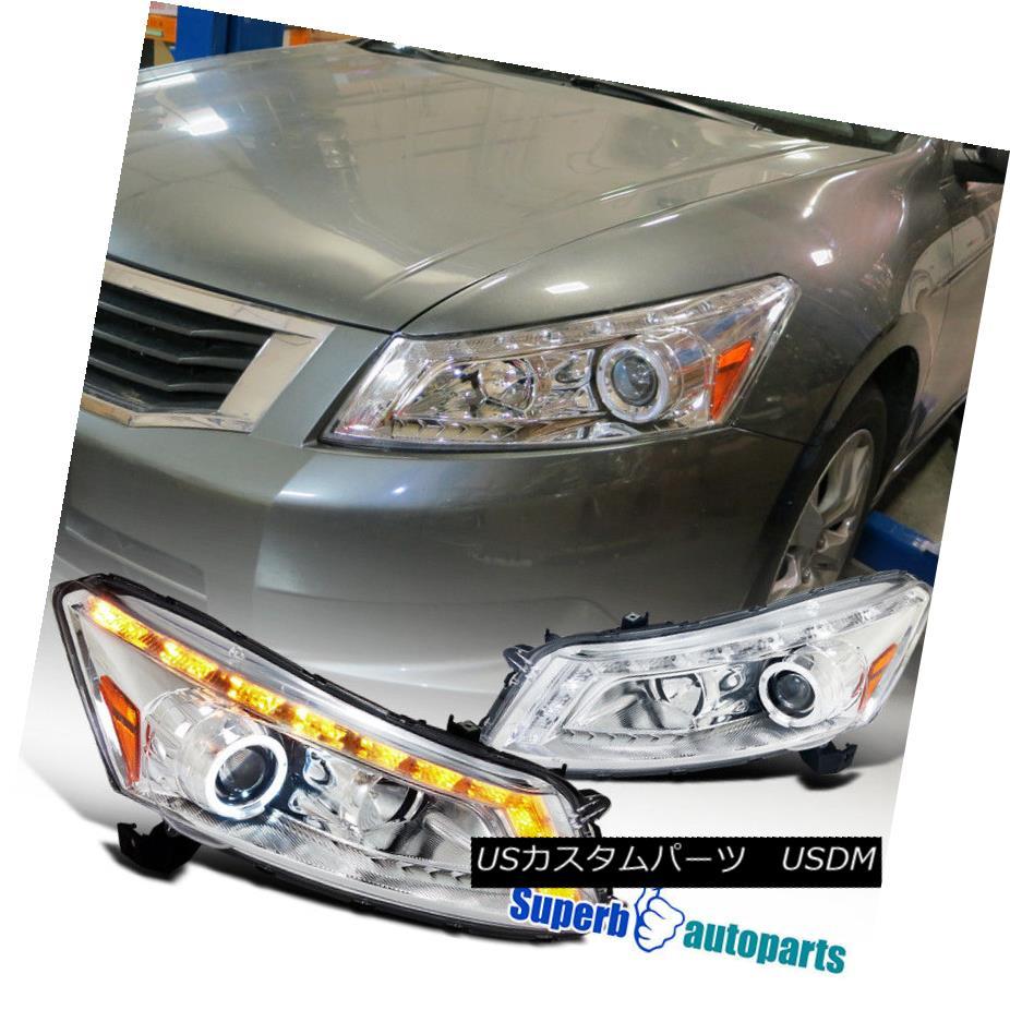 ヘッドライト For 08-12 Honda Accord 4Dr Sedan LED Tube Halo Projector Headlights Lamps Pair 08-12ホンダアコード4DrセダンLEDチューブハロープロジェクターヘッドライトランプペア