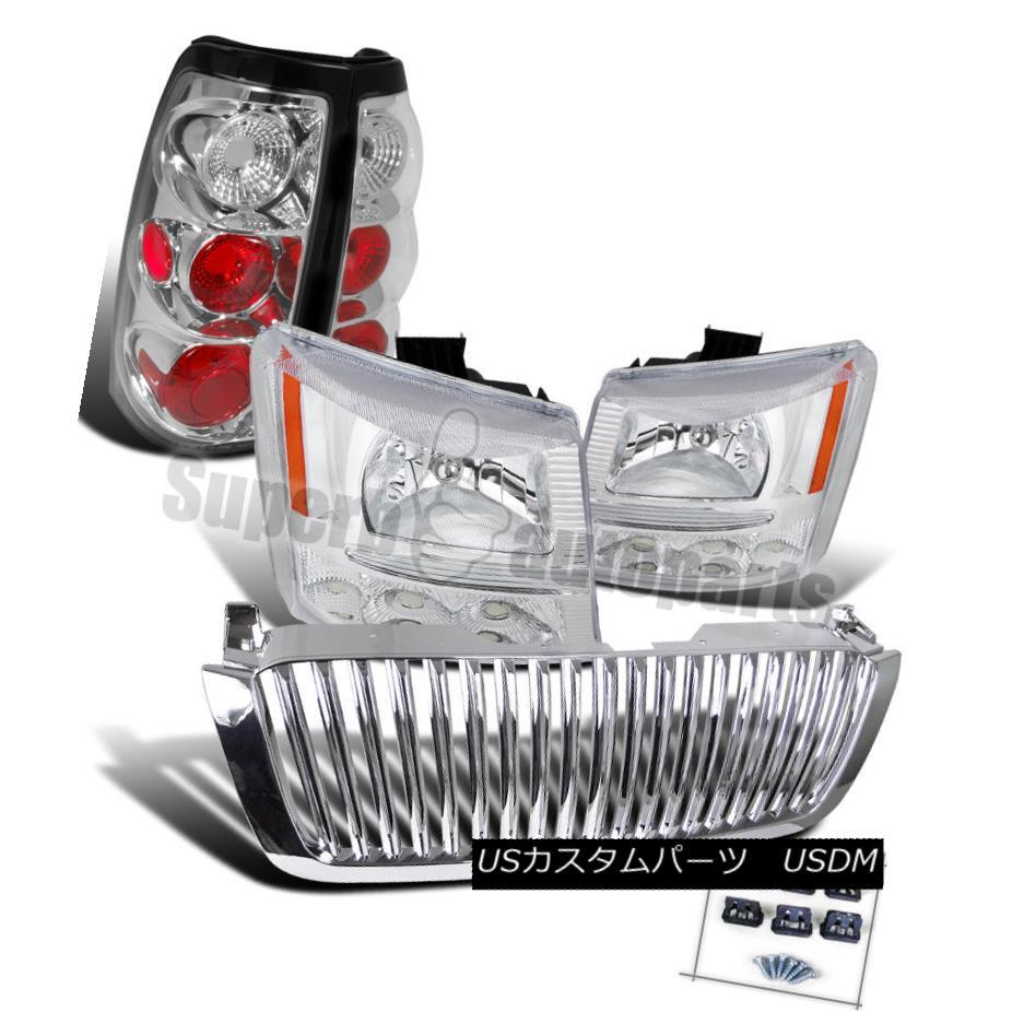 ヘッドライト 2003-2005 Chevy Silverado Headlights Bumper Lamps+Tail Lights+Grille Chrome 2003-2005シボレーシルバラードヘッドライトバンパーランプ+テールライト+グリルクローム
