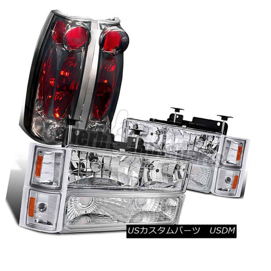 ヘッドライト 1994-1998 Chevy C/K Pickup Headlight+Corner Bumper Lamp Clear +Tail Lights Smoke 1994-1998 Chevy C / Kピックアップヘッドライト+トウモロコシ erバンパーランプクリア+テールライトスモーク